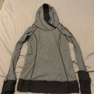 Hooded Lululemon black and gray striped pullover